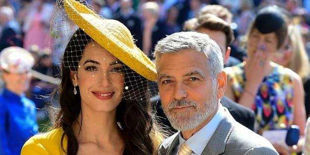 Amal et George Clooney arrivant au mariage du prince Harry et de Meghan Markle à Windsor le 19 mai 2018.