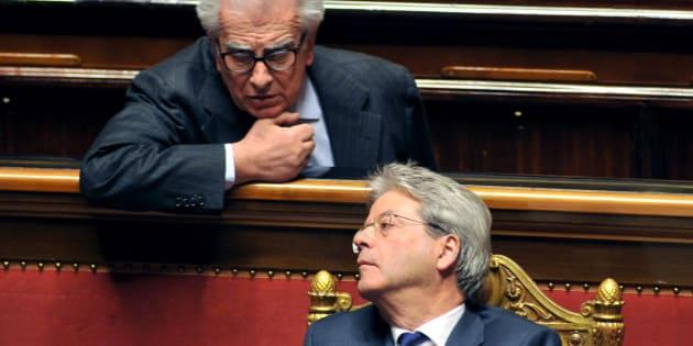 ROME, ITALY - DECEMBER 14: Paolo Gentiloni  and Luigi Zanda  attend the Senat Assembly To Vote The Confidence To The Government on December 14, 2016 in Rome, Italy. (Photo by Camilla Morandi - Corbis/Corbis via Getty Images)