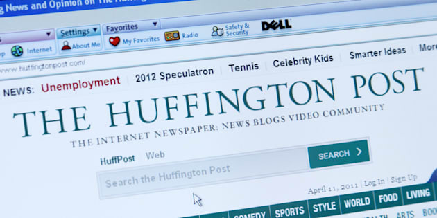 'Palm Springs, California, USA - April 11, 2011: A screen capture of The Huffington Post, an online newspaper, video, and blog site. Page shown is accessed through the AOL browser on a Dell computer.'