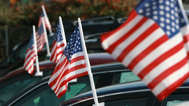 american-flags-are-seen-on-cars-for-sale-at-santa-rosa-chevrolet-12-picture-id84014215
