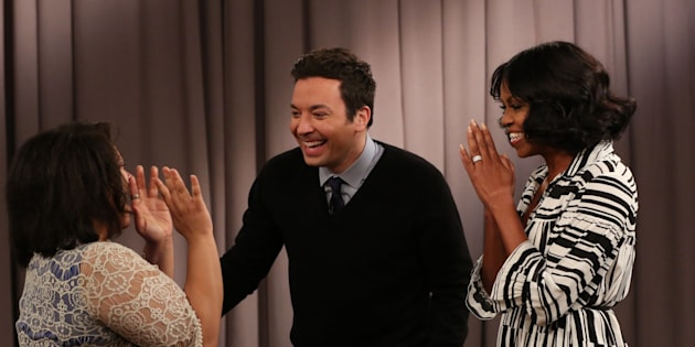 THE TONIGHT SHOW STARRING JIMMY FALLON -- Episode 0600 -- Pictured: (l-r) Host Jimmy Fallon and First Lady Michelle Obama surprise a guest during the 'Thank You First Lady Michelle Obama' segment on January 11, 2017 -- (Photo by: Andrew Lipovsky/NBC/NBCU Photo Bank via Getty Images)
