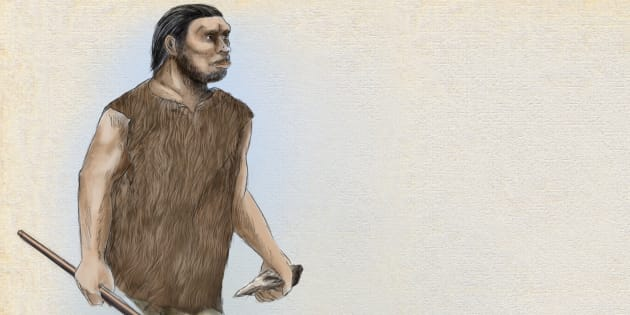 Un dibujo de un Homo Neandertal.