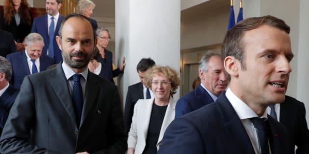 Emmanuel Macronet Edouard Philippe à l'Elysée le 18 mai?