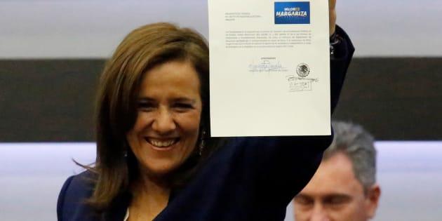Margarita Zavala el día de su registro como candidata independiente el 11 de marzo de 2018.