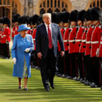 Trump Awkwardly Blocks Queen Elizabeth At British Military