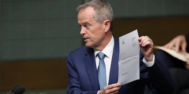 Leader of the Opposition Bill Shorten tables the renunciation of his British citizenship at Parliament House in Canberra on Monday 4 September 2017.