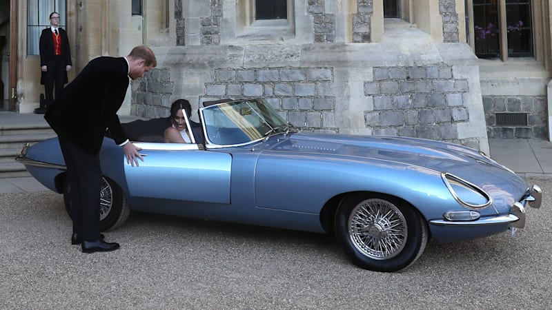 fully electric jaguar e-type transports prince henry and meghan
