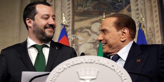 Matteo Salvini, patron de la Ligue (extrême droite) et Silvio Berlusconi. Pour la première fois en Europe, un gouvernement antisystème réunissant les extrêmes peut voir le jour en Italie.