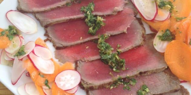 Vite fait, bien fait: Tataki de bœuf et pesto de coriandre