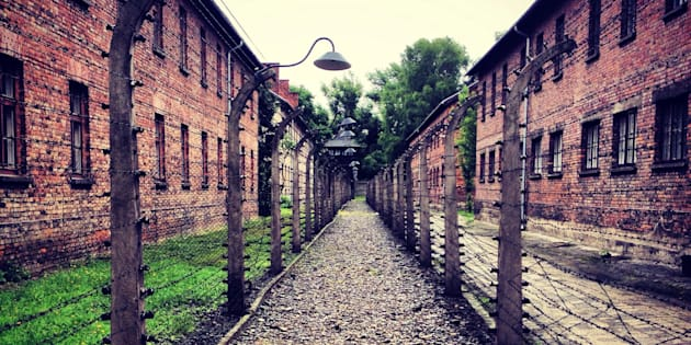Inside Auschwitz concentration camp in Poland.