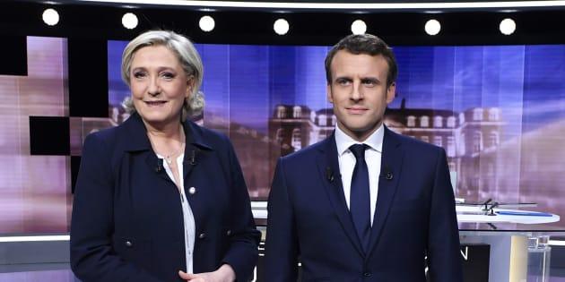 Marine Le Pen et Emmanuel Macron avant leur débat d'entre-deux-tours le 3 mai 2017.