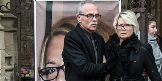Les parents d'Alexia Daval à Gray le 8 novembre 2017.