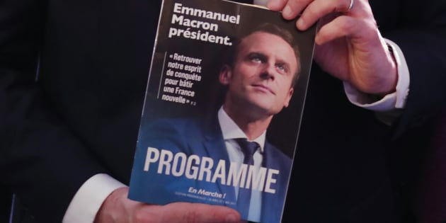 Emmanuel Macron a présenté son programme lors d'une conférence de presse à Paris, le 2 mars 2017.
