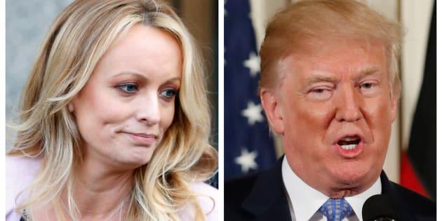 Stephanie Clifford, la actriz conocida como Stormy Daniels, y el presidente de EEUU, Donald Trump, en sendas imágenes de archivo.
