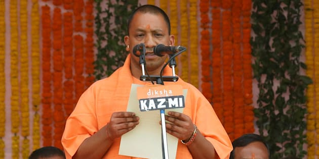 India's ruling Bharatiya Janata Party (BJP) leader Yogi Adityanath takes the oath as the new Chief Minister of India?s most populous state of Uttar Pradesh during a swearing-in ceremony in Lucknow, India, March 19, 2017. REUTERS/Pawan Kumar