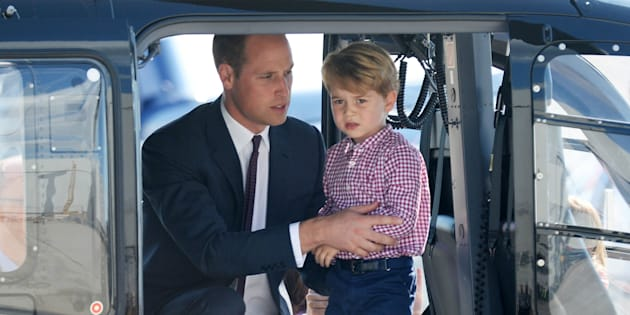 Prince George of Cambridge, Prince William, Duke of Cambridge look in a helicopter as they depart from Hamburg airport on the last day of their official visit to Poland and Germany on July 21, 2017 in Hamburg, Germany.  (Photo by Pool/Samir Hussein/WireImage)