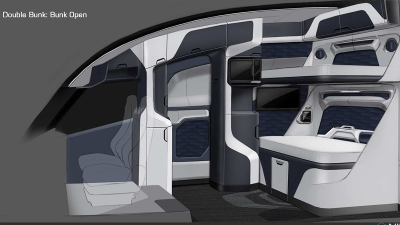 Nikola One Hydrogen Semi Truck 39 S Cozy Yet Futuristic Interior Rendered Autoblog