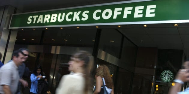 A Starbucks Coffee location located at Yonge Street and King Street in downtown Toronto is seen on Oct. 6, 2005.