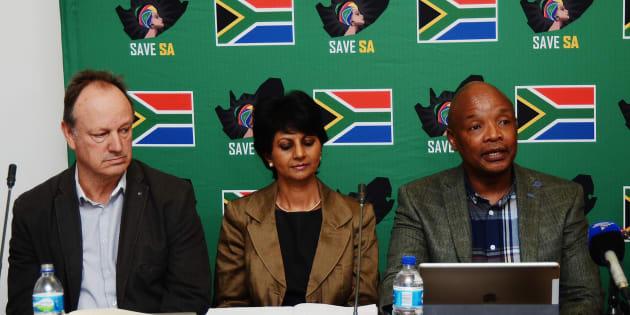 Wayne Duvenage, Peggy Pillay and Save SA convenor Sipho Pityana during a press conference on May 09, 2017.