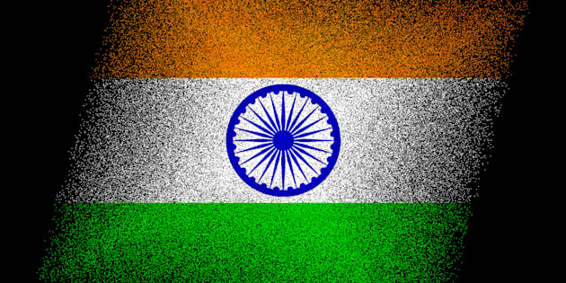 Creative concept illustration of India flag isolated on black