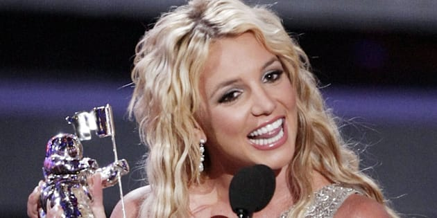 """Britney Spears wins Best Pop Video for """"Piece of Me"""" at the 2008 MTV Video Music Awards."""