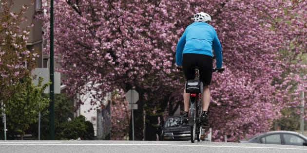 A lone Vancouver cyclist rides north on Heather Street in April 2016.