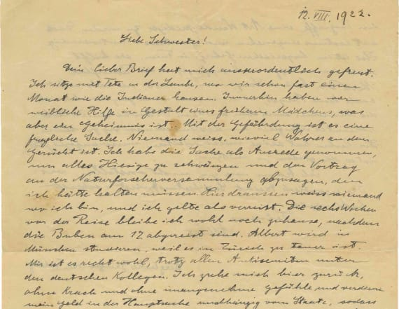 Letter shows Albert Einstein feared Nazis' rise