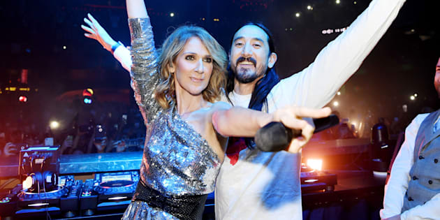 Céline Dion and Steve Aoki at OMNIA Nightclub in Caesars Palace on Nov. 8, 2017 in Las Vegas, Nevada.