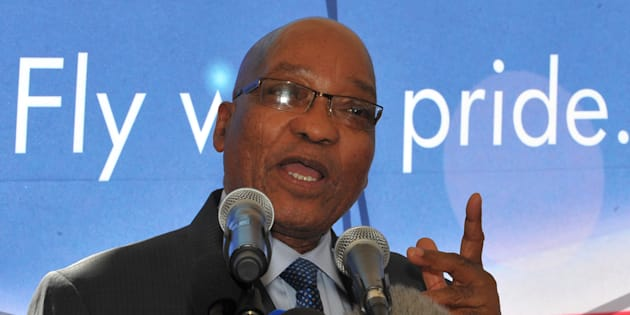 South African President Jacob Zuma speaks on September 16, 2011 during the launch in Johannesburg of taxi industry-owned budget airline Santaco Airlines. After one maiden flight, the airline failed to take off.