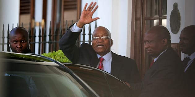 President Jacob Zuma leaves Tuynhuys, the office of the Presidency at parliament after the announcement that his state of the nation address had been postponed in Cape Town, South Africa, February 6, 2018.