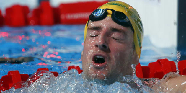Australia's James Magnussen reacts after winning the men's 100m freestyle final during the World Swimming Championships at the Sant Jordi arena in Barcelona August 1, 2013.  REUTERS/Michael Dalder (SPAIN - Tags: SPORT SWIMMING)