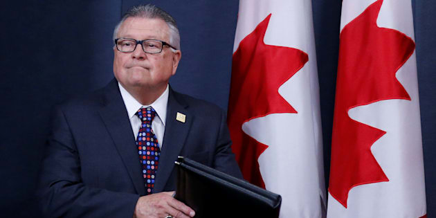 Public Safety Minister Ralph Goodale arrives at a news conference in Ottawa, June 20, 2017.