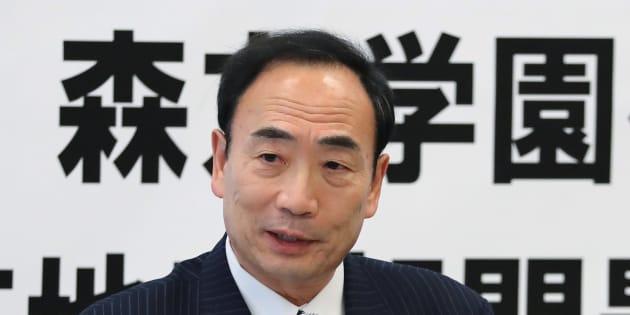 あいさつする籠池泰典前理事長=2017年4月28日、東京・衆議院議員会館