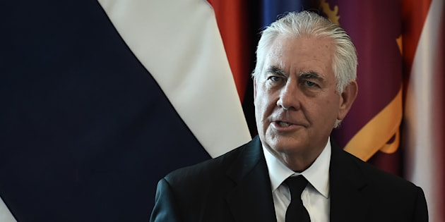 U.S. Secretary of State Rex Tillerson speaks at the Ministry of Foreign Affairs in Bangkok during a one-day visit to Thailand on Tuesday.