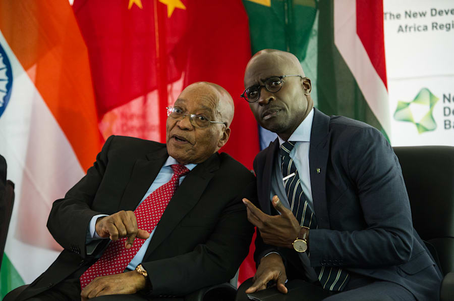 Finance Minister Malusi Gigaba and President Jacob Zuma during a recent Brics summit. Gigaba allegedly plans to review the powers of the office of the chief procurement officer.
