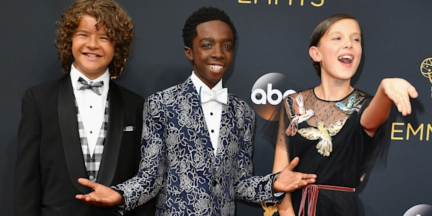 Gaten Matarazzo, Caleb McLaughlin and Millie Bobby Brown (left to right) attend the 68th Annual Primetime Emmy Awards in Los Angeles, California.