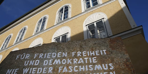 A stone outside the house in which Adolf Hitler was born, reads 'For peace, freedom and democracy, never again fascism, millions of dead are a warning' in Braunau am Inn, Austria.