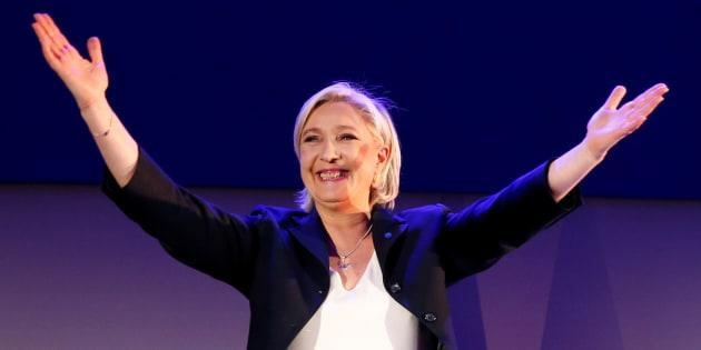 Marine Le Pen lors de la soirée électorale du 23 avril 2017.