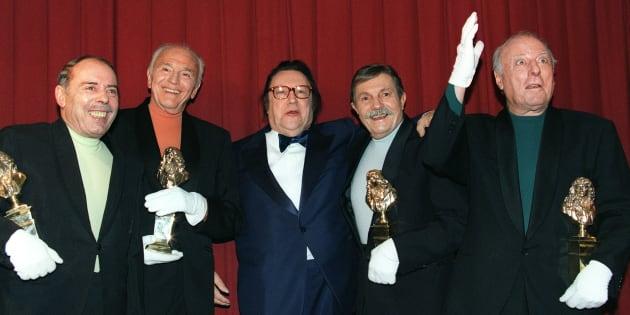 De gauche à droite: Georges Bellec, François Soubeyran, Raymond Devos Paul Tourenne et et André Bellec.