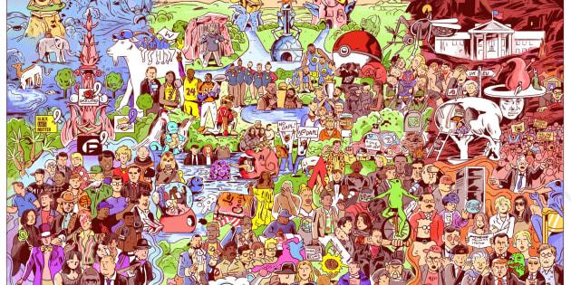 Une illustration de Niv Bavarsky rassemblant 127 événements marquants de l'année 2016