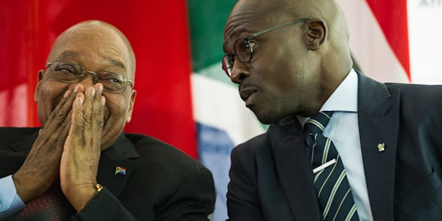 Loving it . . . President Jacob Zuma and his minister of finance, Malusi Gigaba.