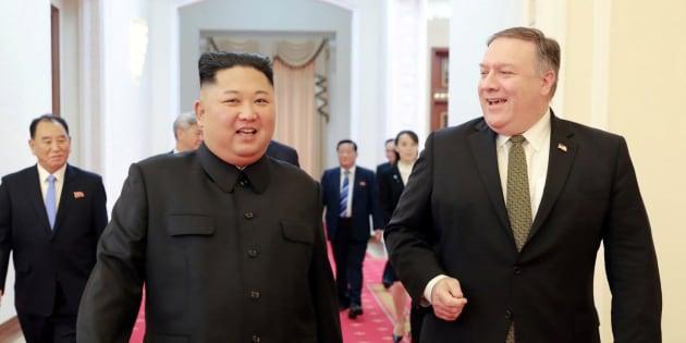 (左)北朝鮮の金正恩朝鮮労働党委員長(右)マイク・ポンペオ米国務長官