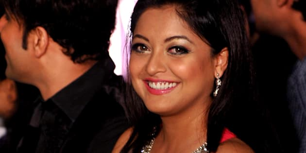 Indian Bollywood ctress Tanushree Dutta poses for a photo during an event for the Mandate Model Hunt contest  in Mumbai on May 4, 2013.