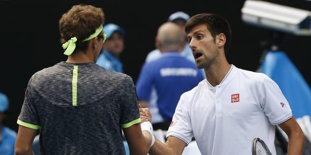 Denis Istomin, qui vient d'éliminer Novak Djokovic à l'Open d'Australie le 19 janvier 2017.