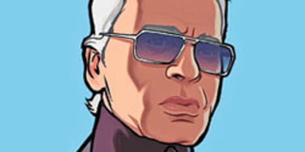 """Un artwork de Karl Lagerfeld dans le jeu vidéo """"GTA IV""""."""