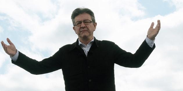 Jean-Luc Mélenchon en meeting pendant la campagne présidentielle.