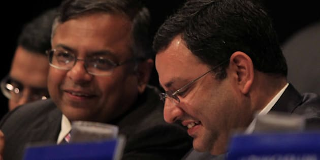 N Chandrasekaran and Cyrus Mistry during the Annual General Meeting of Tata Consultancy Services.