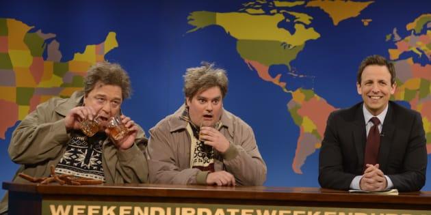 John Goodman as Drunker Uncle, Bobby Moynihan Drunk Uncle, Seth Meyers during 'Weekend Update'
