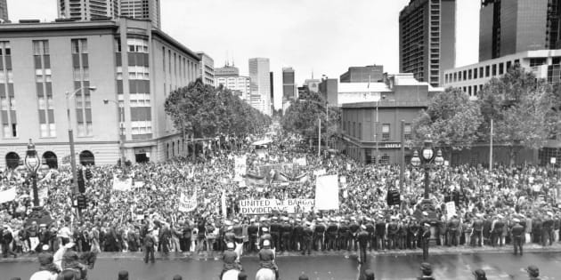 Here are some people taking unlawful industrial action (breaking 'unjust laws') during Victoria's day of protest in 1992.
