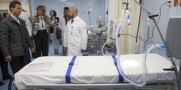 El presidente Enrique Peña Nieto durante la inauguración del Hospital General de Zona número 5 del IMSS, en Nogales, Sonora, el 12 de febrero de 2018.